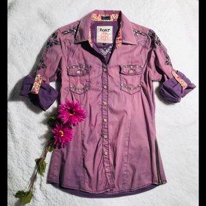 ROAR Button-down Shirt sz M 💜